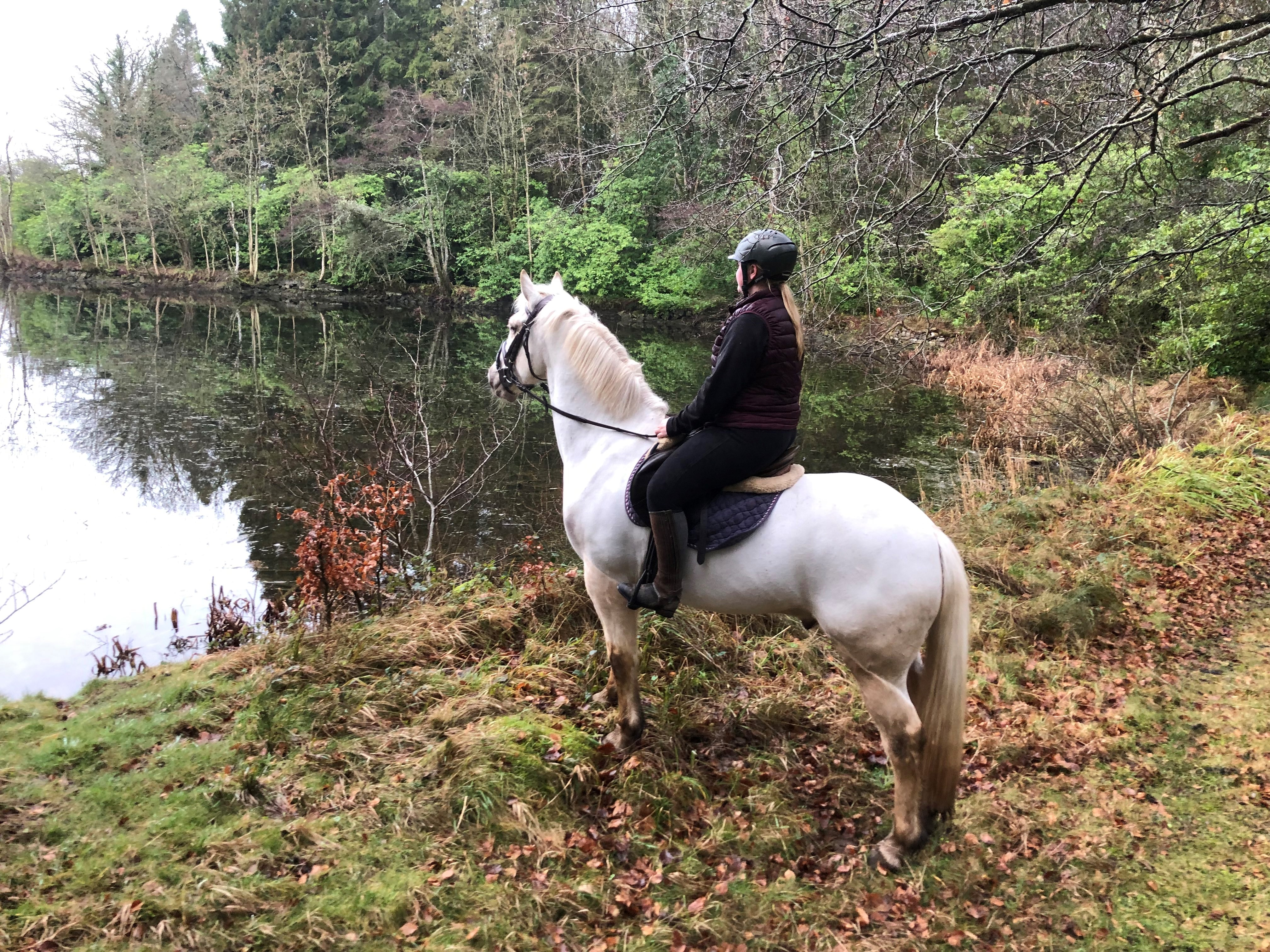 girl riding horse by lake